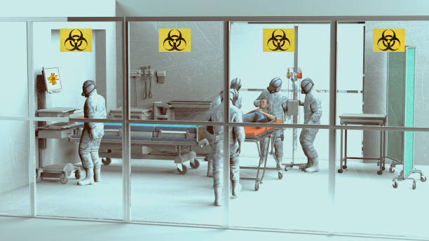 Hospital scene, hospitalization for emergency contagion risk. Coronavirus. Doctors in protective suits and masks to cover the face. stock photo