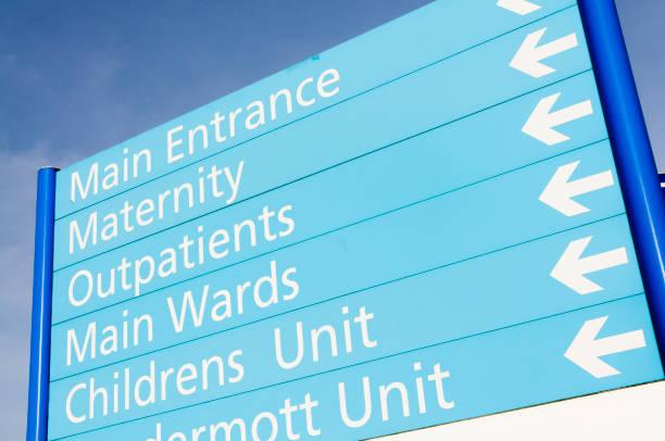 Krankenhausschild für Mutterschaft, Ambulanz, Stationen und Kinderstation – Foto