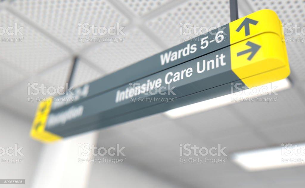 Hospital sign ICU stock photo