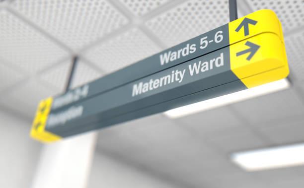 Signo de hospital maternidad - foto de stock