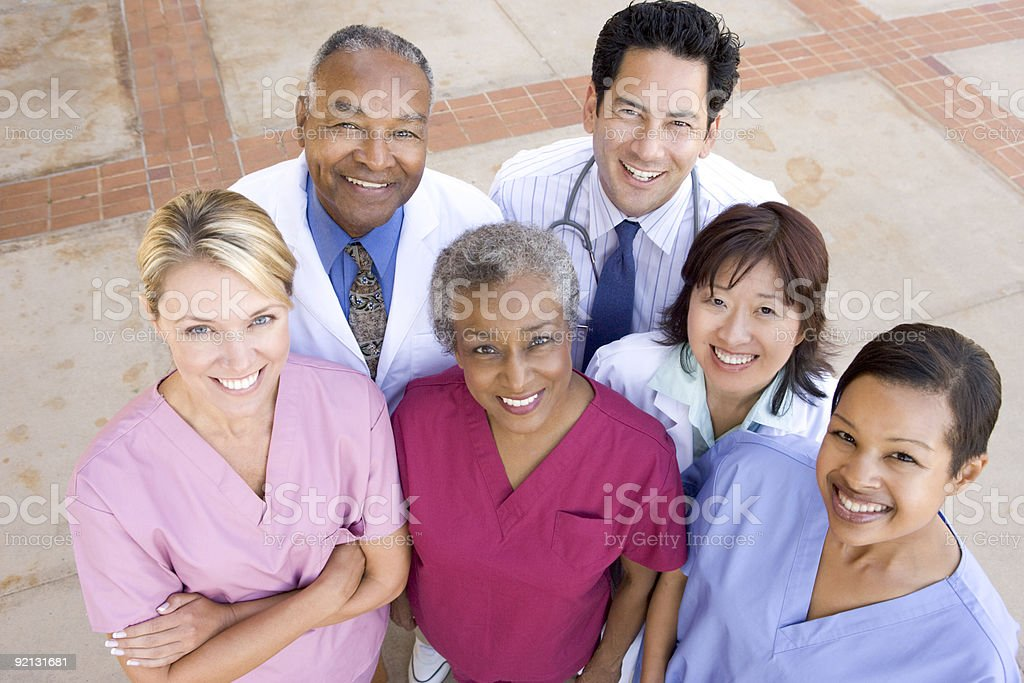 Hospital Staff Standing Outside royalty-free stock photo