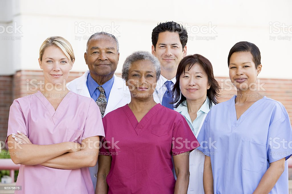 Hospital Staff Standing Outside stock photo