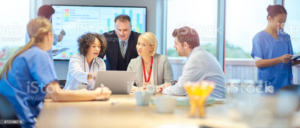 hospital team discussion stock photo