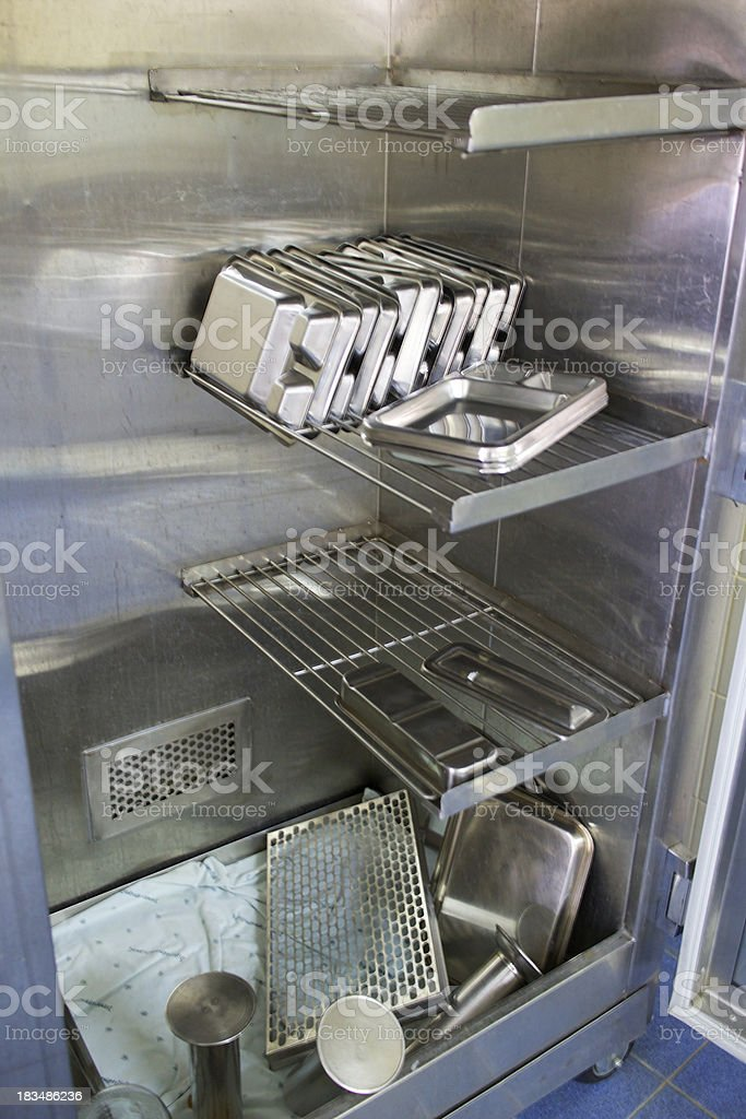 Hospital washing machines for medical instruments stock photo