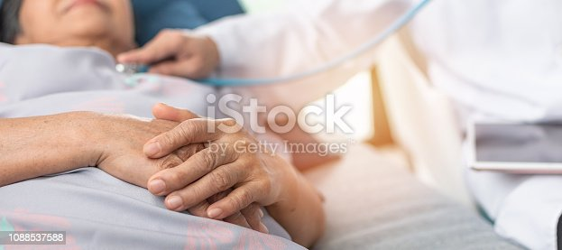 istock Hospitalized elderly patient, senior old aging woman laying on bed with cardiologist doctor or physician examining cardiological heart health, checking pulse in hospital clinic exam room 1088537588