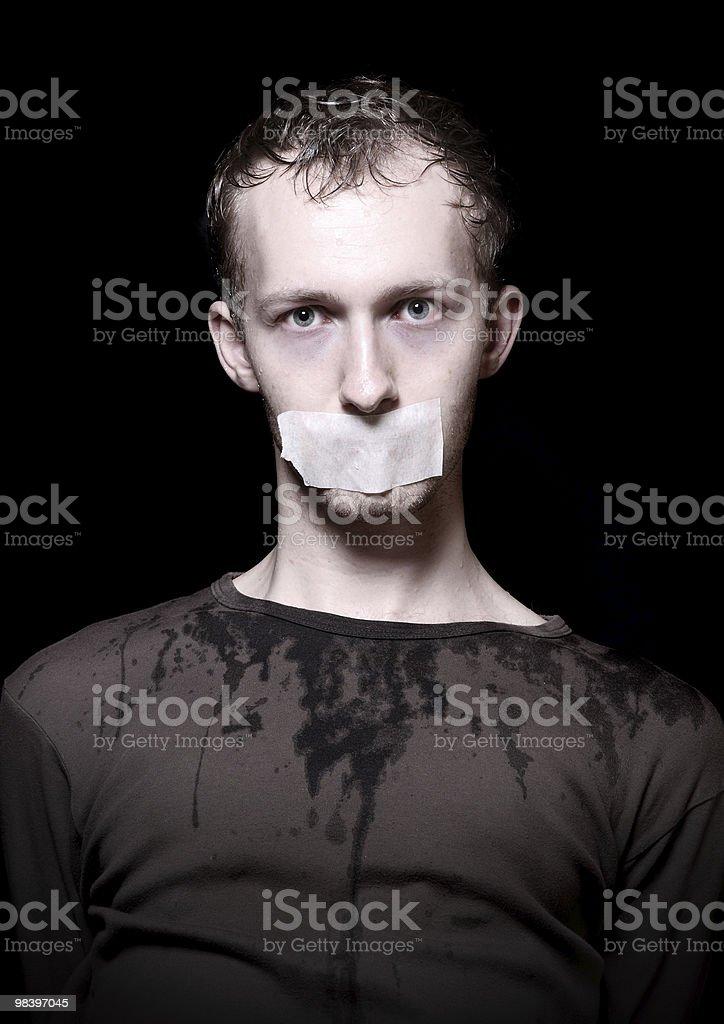 Hostage on black royalty-free stock photo