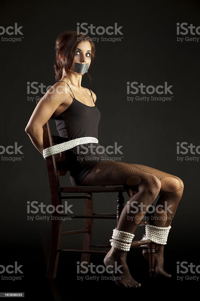 Hostage Woman Bound Gagged Looking Both Excited And Terrified Stock Photo - Download -3449