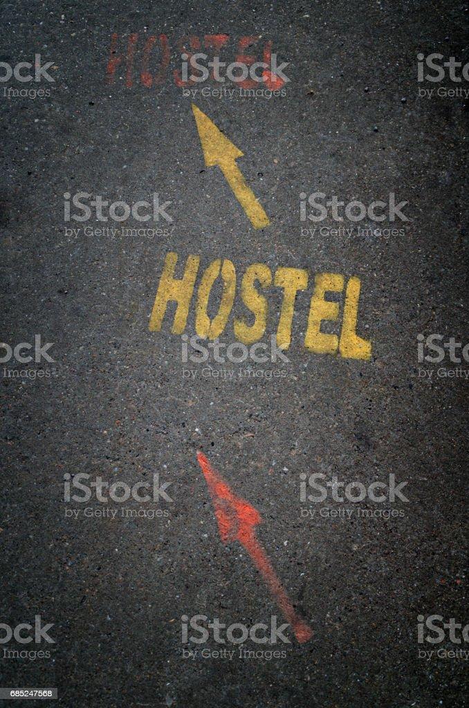 Hostel sign on street stock photo