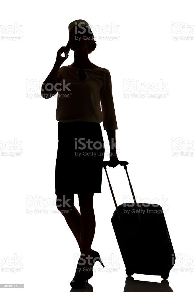 Hostess Business Class Travel Silhouette Studio Shot Stock