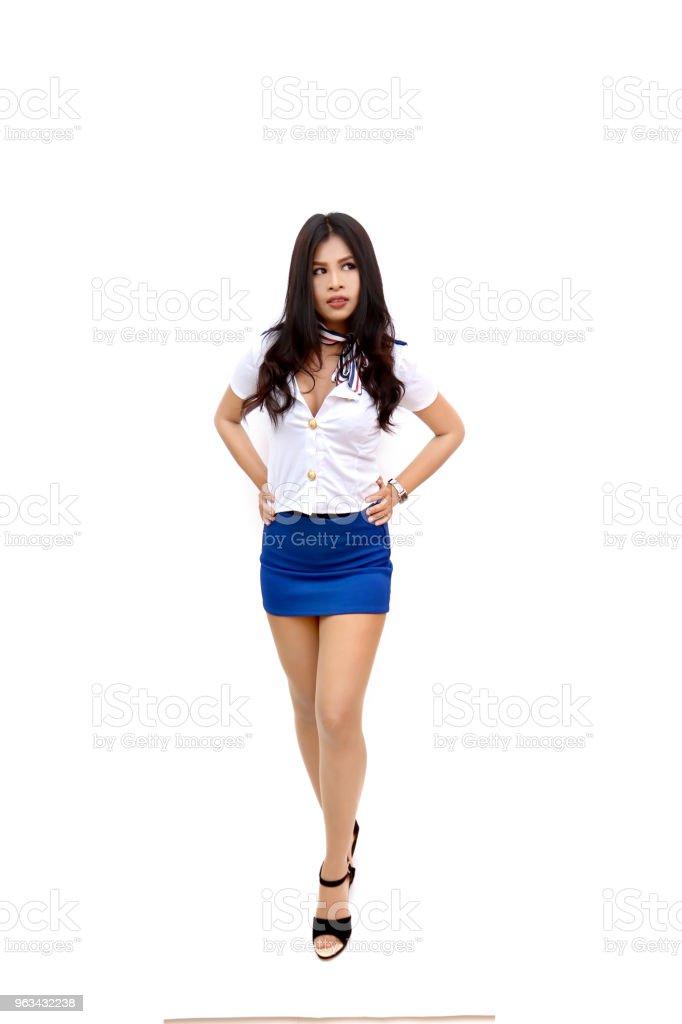 hostess,hot sexy asian, girl women in stewardess,air hostess on isolated white background - Zbiór zdjęć royalty-free (Białe tło)