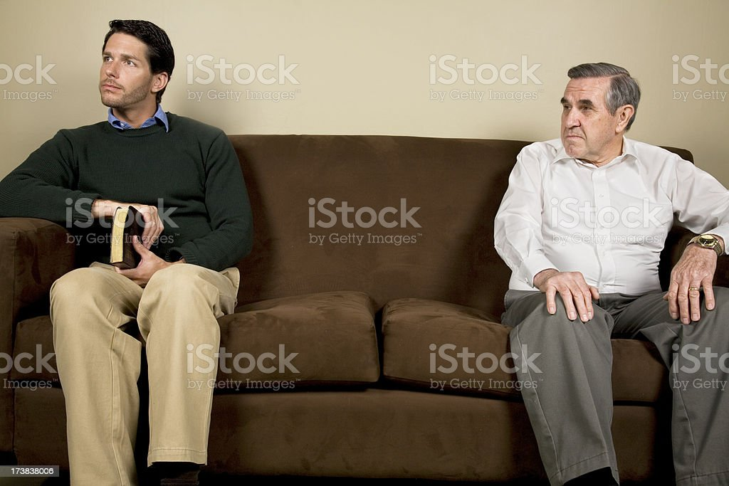 Hostility Between A Young Man And His Mentor royalty-free stock photo