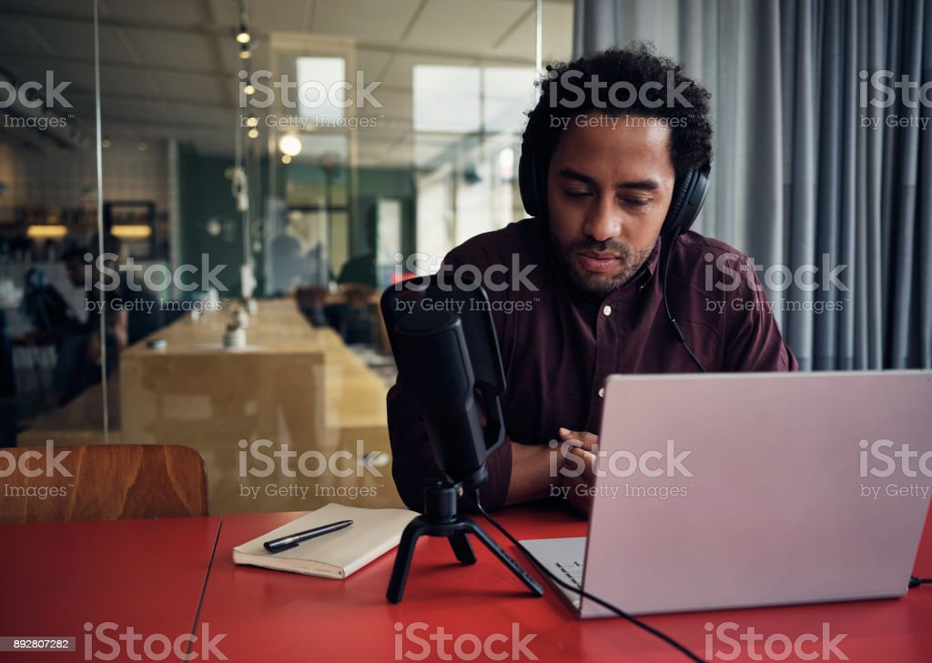 Hosting an online talk show stock photo