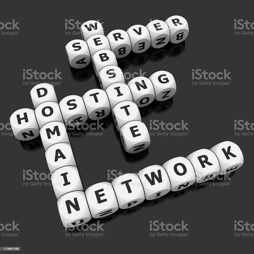 hosting crosswords on dices royalty-free stock photo