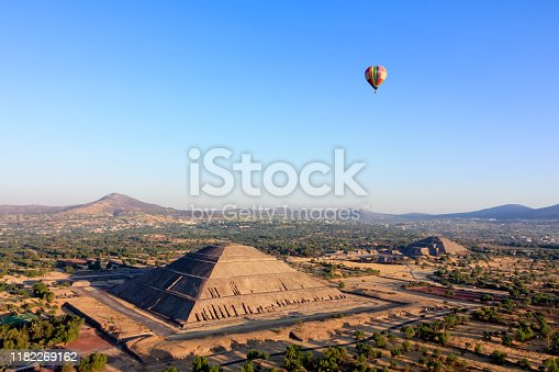 Hot air ballon  in light-blue sky over the pyramids of Teotihuacan Sun and Moon in Mexico.  Aerial view