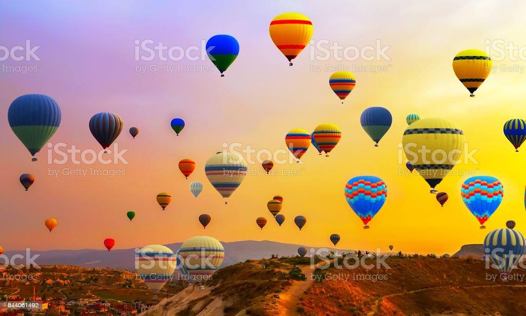 hot air ballons flight stock photo