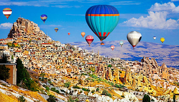 Hot Air Ballons of Cappadocia, Turkey stock photo