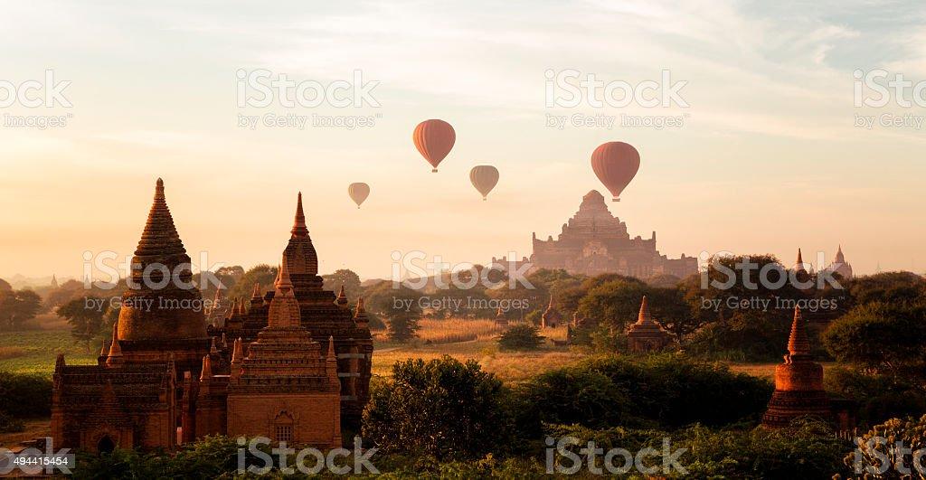 Hot Air Ballons over Bagan , Burma stock photo