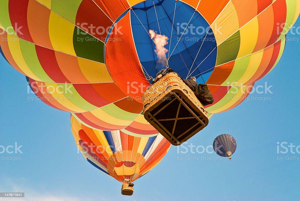 hot air balloon actioning the burner stock photo