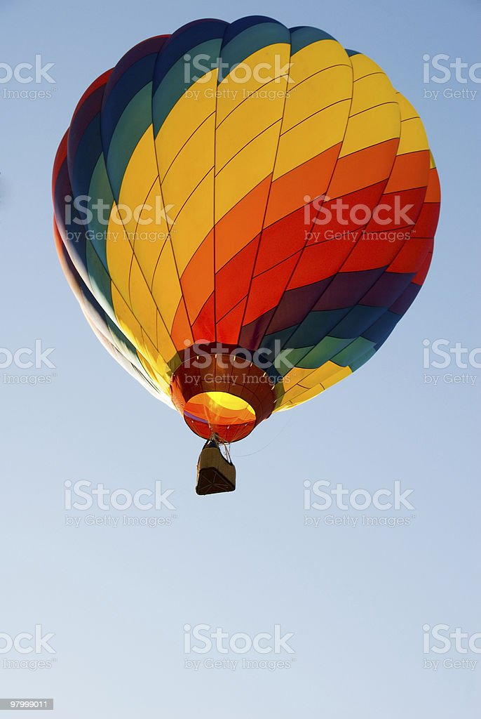 Hot air balloon aganst blue sky royalty-free stock photo