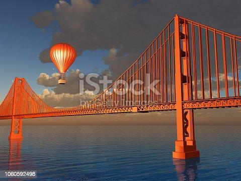 1030949292 istock photo Hot Air Balloon and Golden Gate Bridge 1060592498