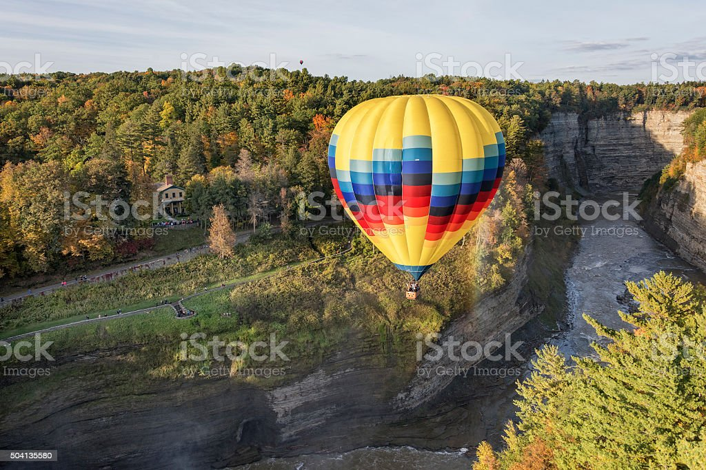 Hot Air Balloon At Letchworth State Park stock photo