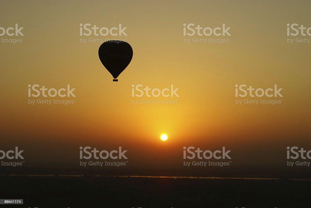 Hot air balloon at sunset royalty-free stock photo
