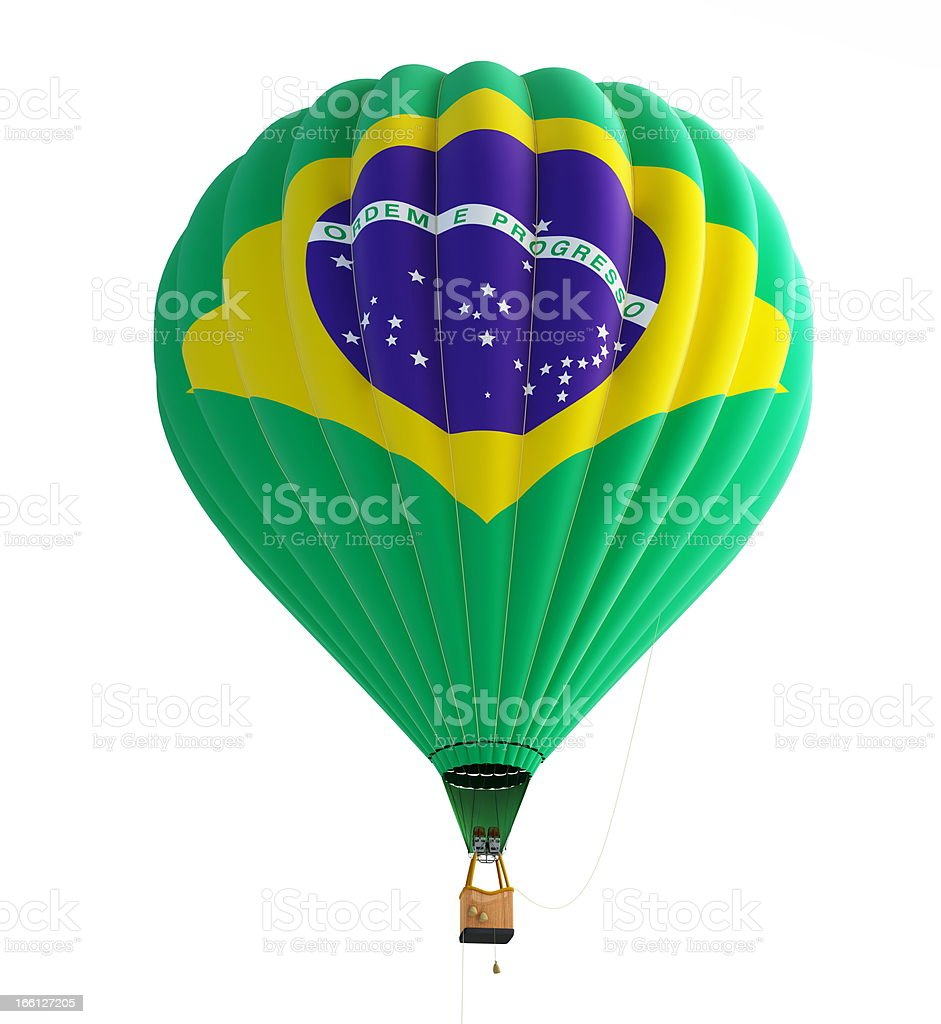 hot air balloon brazil flag on a white background royalty-free stock photo
