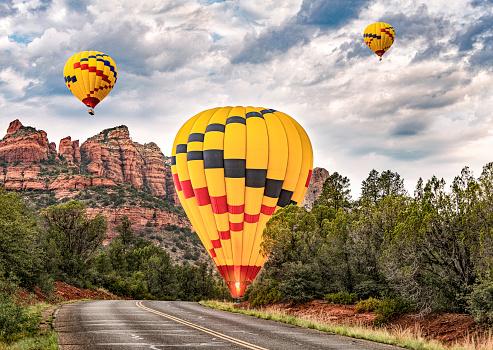 A hot air balloon makes an emergency landing on a rural road in Sedona, AZ