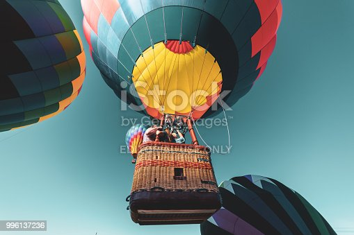 Poughquag, NY, USA - July 08, 2018: Colorful balloons rising at the same time on a blue sky day, at the Hot Air Balloons Festival at Poughquag in New York