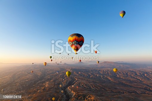 Hot air balloon flight over the mountains of Cappadocia Turkey