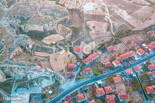 515376634 istock photo Hot air balloon flying at dawn over the city of Cappadocia in Turkey. View from above. 1183340299