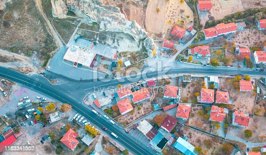 515376634 istock photo Hot air balloon flying at dawn over the city of Cappadocia in Turkey. View from above. 1183341552