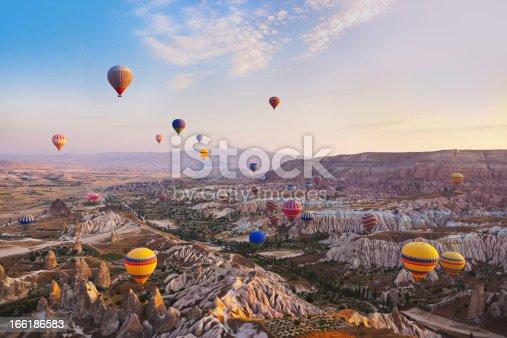 istock Hot air balloon flying over Cappadocia Turkey 166186583