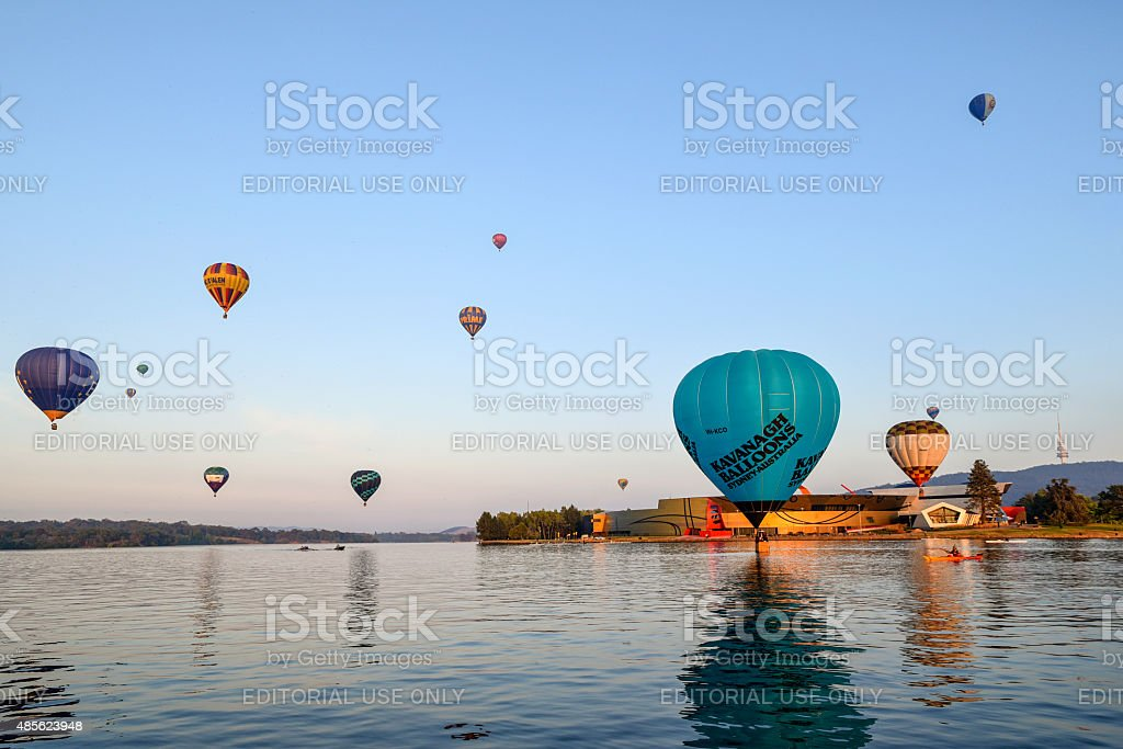 Hot air balloon gathering in Canberra stock photo