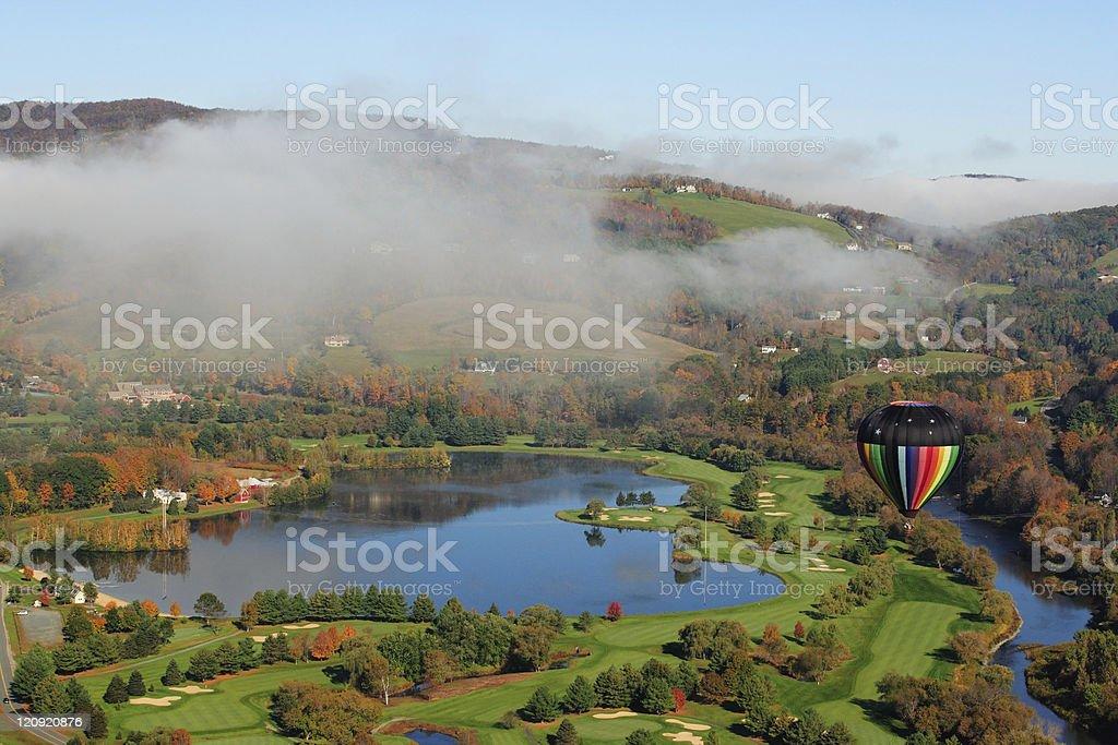 Hot Air Balloon in Flight royalty-free stock photo