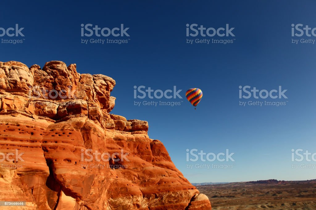 Hot air balloon in moab stock photo