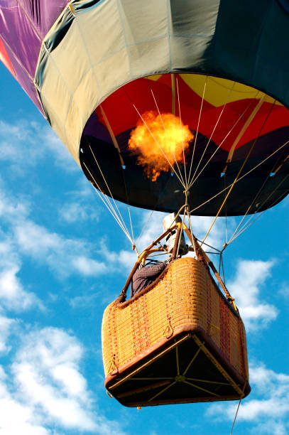 Hot Air Balloon in Sky stock photo