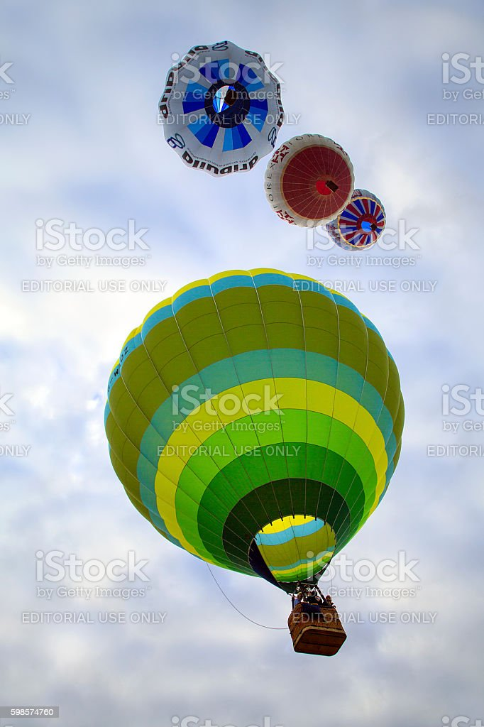Hot Air Balloon Inflating stock photo