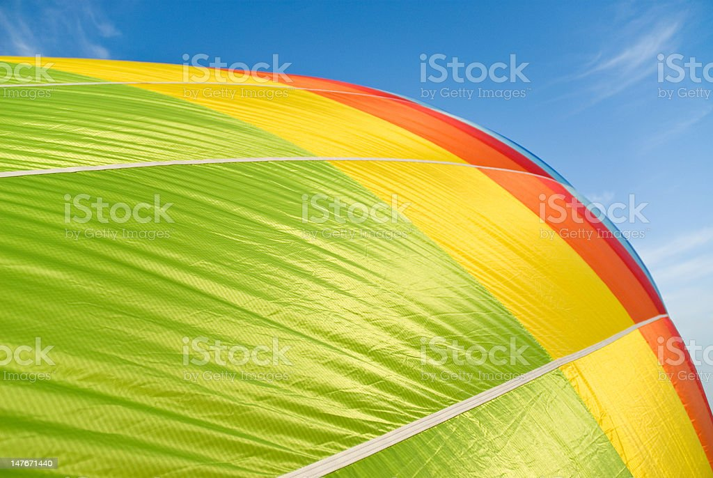 hot air balloon inflation stock photo