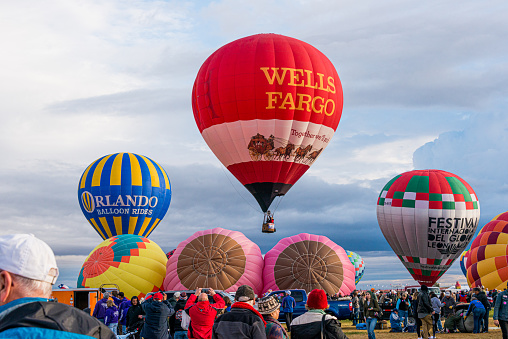 Albuquerque, New Mexico - USA - Oct 11, 2015: Hot air balloon launch at the Albuquerque International Balloon Fiesta