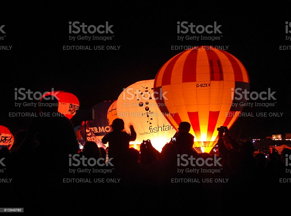 Hot Air Balloon - Night Burn stock photo