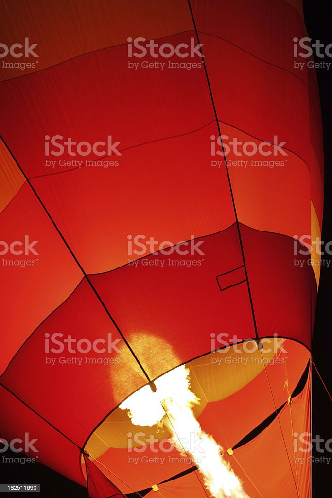 Hot Air Balloon Night Flame royalty-free stock photo