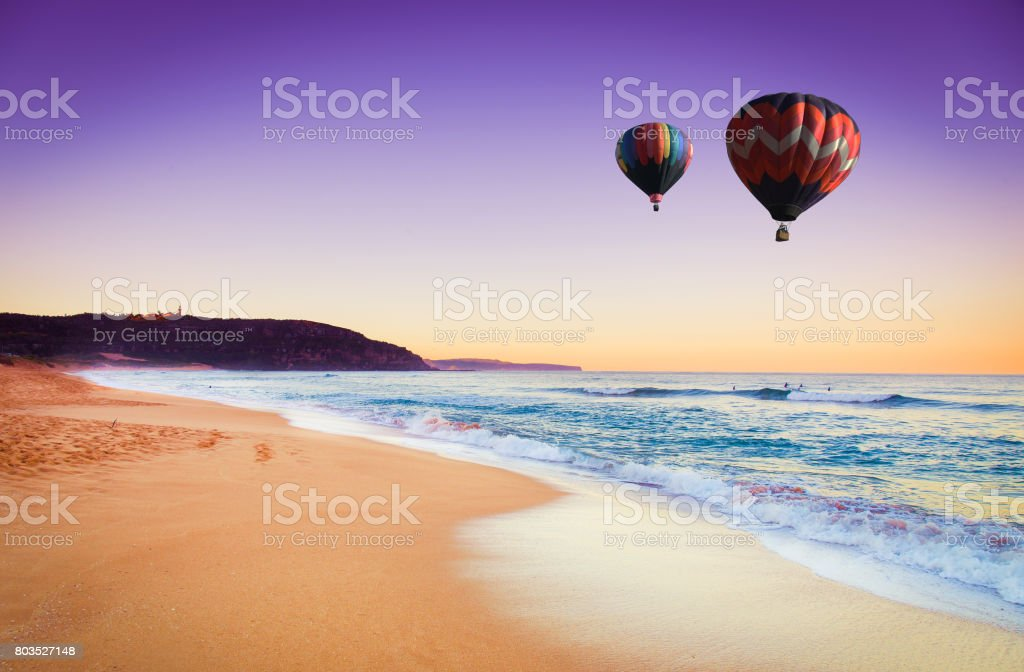 Hot air balloon over beach in summer, New south wales, Australia stock photo