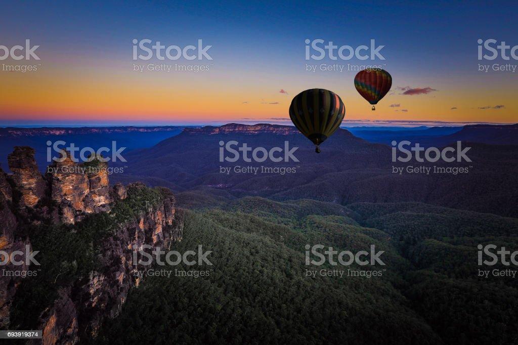 Hot air balloon over blue mountain, New south wales, Australia stock photo