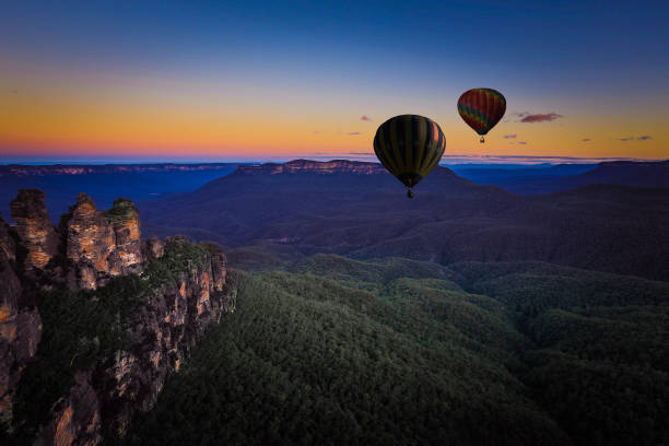 Hot air balloon over blue mountain, New south wales, Australia stock photo