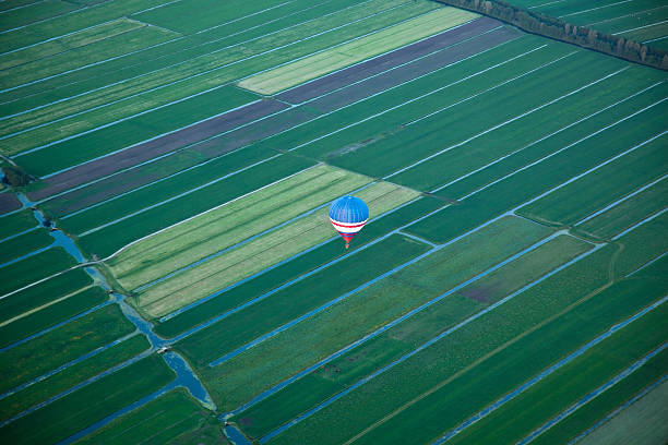 Hot Air Balloon over Holland stock photo