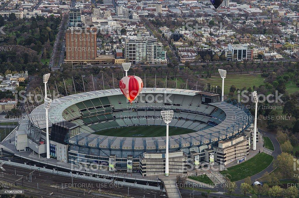 Hot air balloon over Melbourne Cricket Ground stock photo