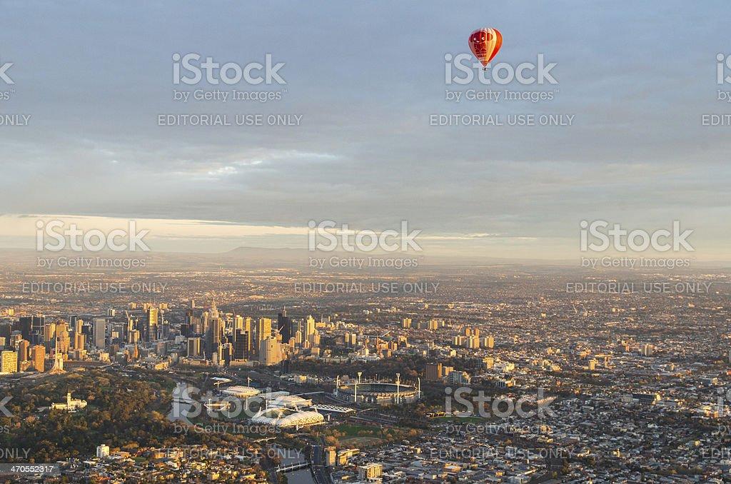 Hot air balloon over Melbourne stock photo