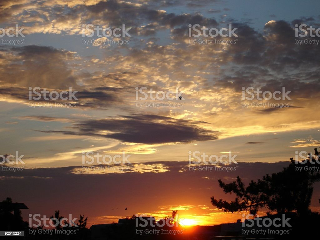 Hot Air Balloon Over Sunset royalty-free stock photo