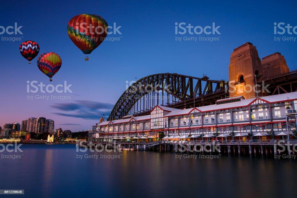 Hot air balloon over Sydney bay in evening, Sydney, Australia stock photo